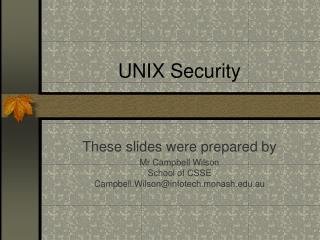 UNIX Security