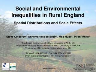 Social and Environmental Inequalities in Rural England Spatial Distributions and Scale Effects