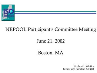 NEPOOL Participant's Committee Meeting June 21, 2002 Boston, MA