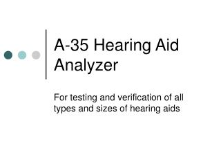 A-35 Hearing Aid Analyzer