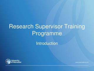 Research Supervisor Training Programme