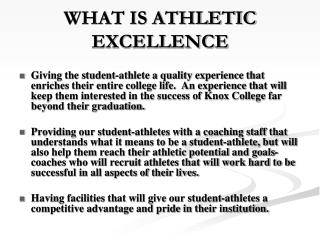 WHAT IS ATHLETIC EXCELLENCE