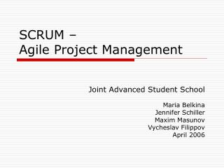 SCRUM –  Agile Project Management