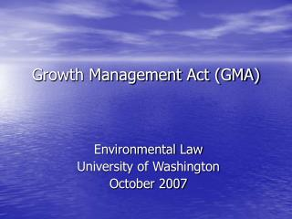Growth Management Act (GMA)