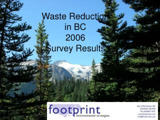 Waste Reduction  in BC  2006  Survey Results