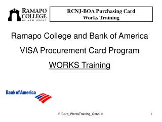 RCNJ-BOA Purchasing Card  Works Training