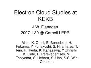 Electron Cloud Studies at KEKB