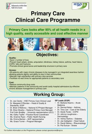 Primary Care  Clinical Care Programme