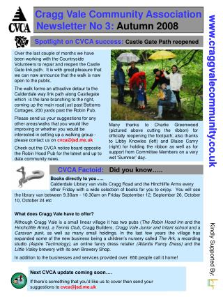 Cragg Vale Community Association Newsletter No 3:  Autumn 2008