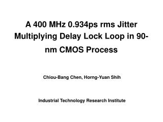 A 400 MHz 0.934ps rms Jitter Multiplying Delay Lock Loop in 90-nm CMOS Process