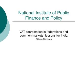 National Institute of Public Finance and Policy