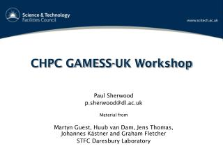 CHPC GAMESS-UK Workshop