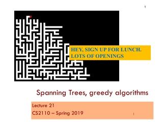 Spanning Trees, greedy algorithms