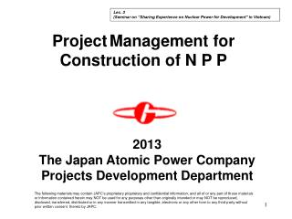 Project Management for Construction of N P P
