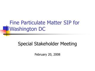 Fine Particulate Matter SIP for Washington DC