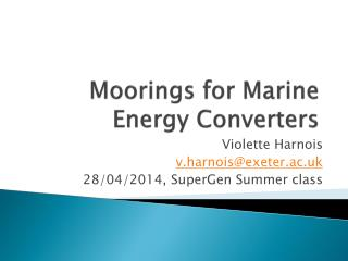 Moorings for Marine Energy Converters