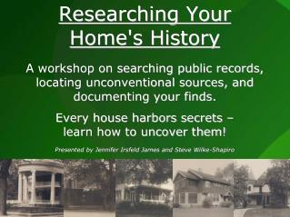 Researching Your Home's History