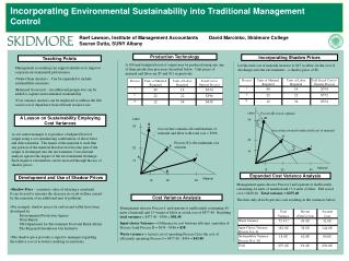 Incorporating  Environmental Sustainability into Traditional Management Control