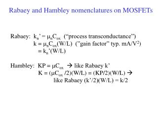 Rabaey and Hambley nomenclatures on MOSFETs