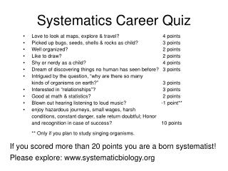 Systematics Career Quiz