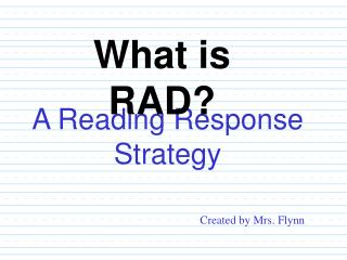 A Reading Response Strategy