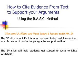 How to Cite Evidence From Text to Support your Arguments