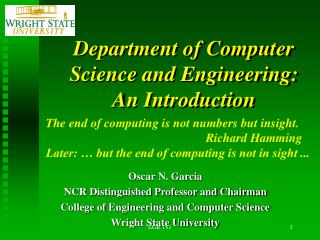 Department of Computer Science and Engineering: An Introduction