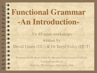 Functional Grammar -An Introduction-