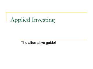 Applied Investing