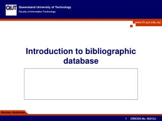 Introduction to bibliographic database