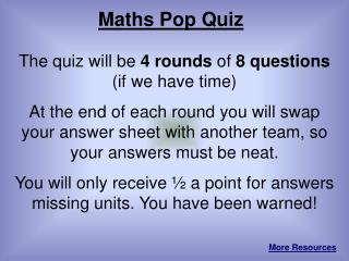 Maths Pop Quiz