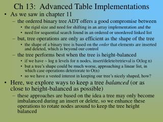 Ch 13:  Advanced Table Implementations