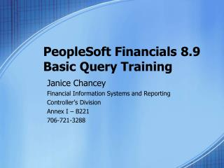 PeopleSoft Financials 8.9 Basic Query Training