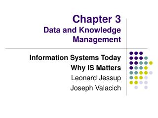Chapter 3 Data and Knowledge Management