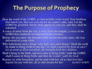 The Purpose of Prophecy