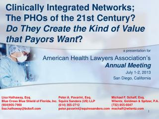a presentation for American Health Lawyers Association's  Annual Meeting July 1-2, 2013