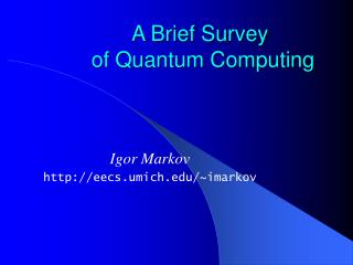 A Brief Survey  of Quantum Computing