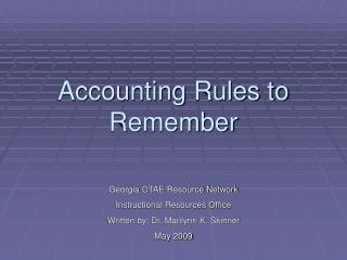 Accounting Rules to Remember