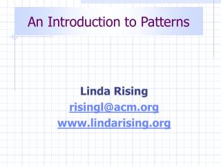 An Introduction to Patterns