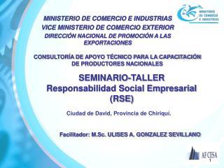 SEMINARIO-TALLER Responsabilidad Social Empresarial (RSE)