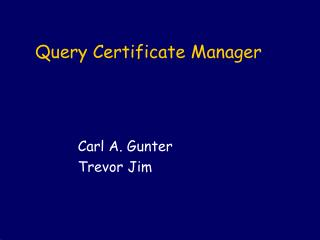 Query Certificate Manager
