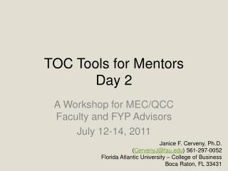 TOC Tools for Mentors Day 2