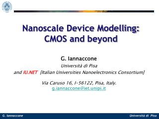 Nanoscale Device Modelling: CMOS and beyond