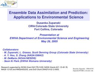 Ensemble Data Assimilation and Prediction: Applications to Environmental Science