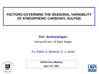 FACTORS GOVERNING THE SEASONAL VARIABILITY OF ATMOSPHERIC CARBONYL SULFIDE