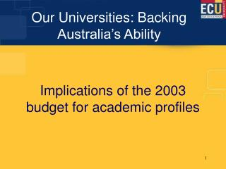Our Universities: Backing Australia's Ability