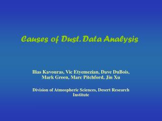 Causes of Dust. Data Analysis
