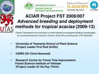 University of Tasmania School of Plant Science  (Project Leader Prof Rod Griffin)