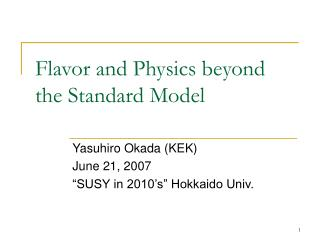 Flavor and Physics beyond the Standard Model