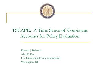 TSCAPE:  A Time Series of Consistent Accounts for Policy Evaluation